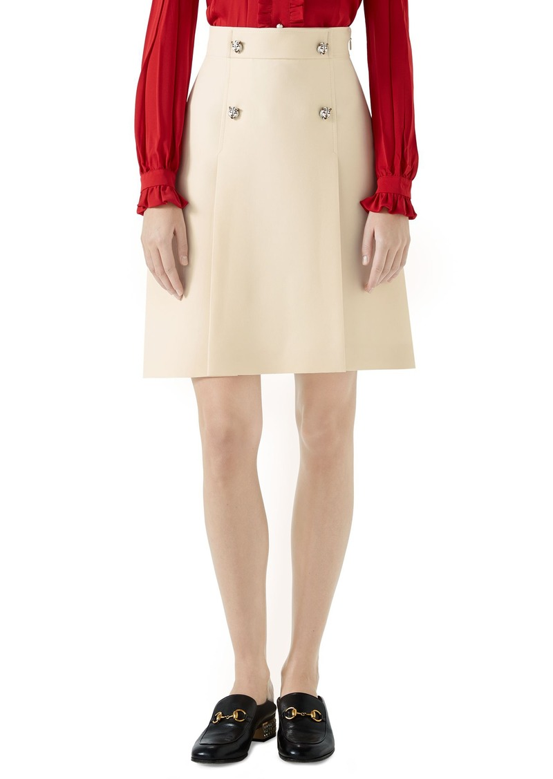 93875284f Gucci Gucci Tiger Button Wool & Silk Crepe A-Line Skirt