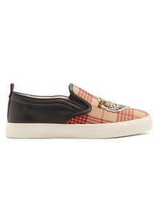 Gucci Tiger-embroidered slip-on canvas trainers