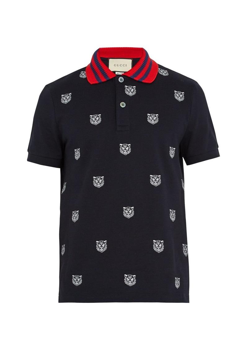8a4bd6ed595e Gucci Gucci Tiger-embroidered stretch-cotton polo shirt
