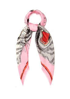 Gucci Tiger Face-print silk-twill scarf