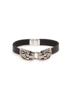Gucci Tiger-head leather bracelet