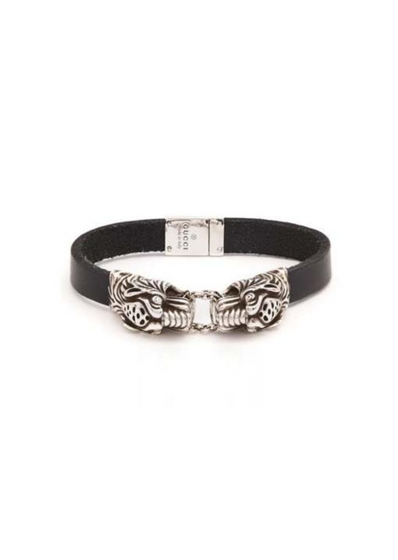 Gucci Tiger-head leather bracelet