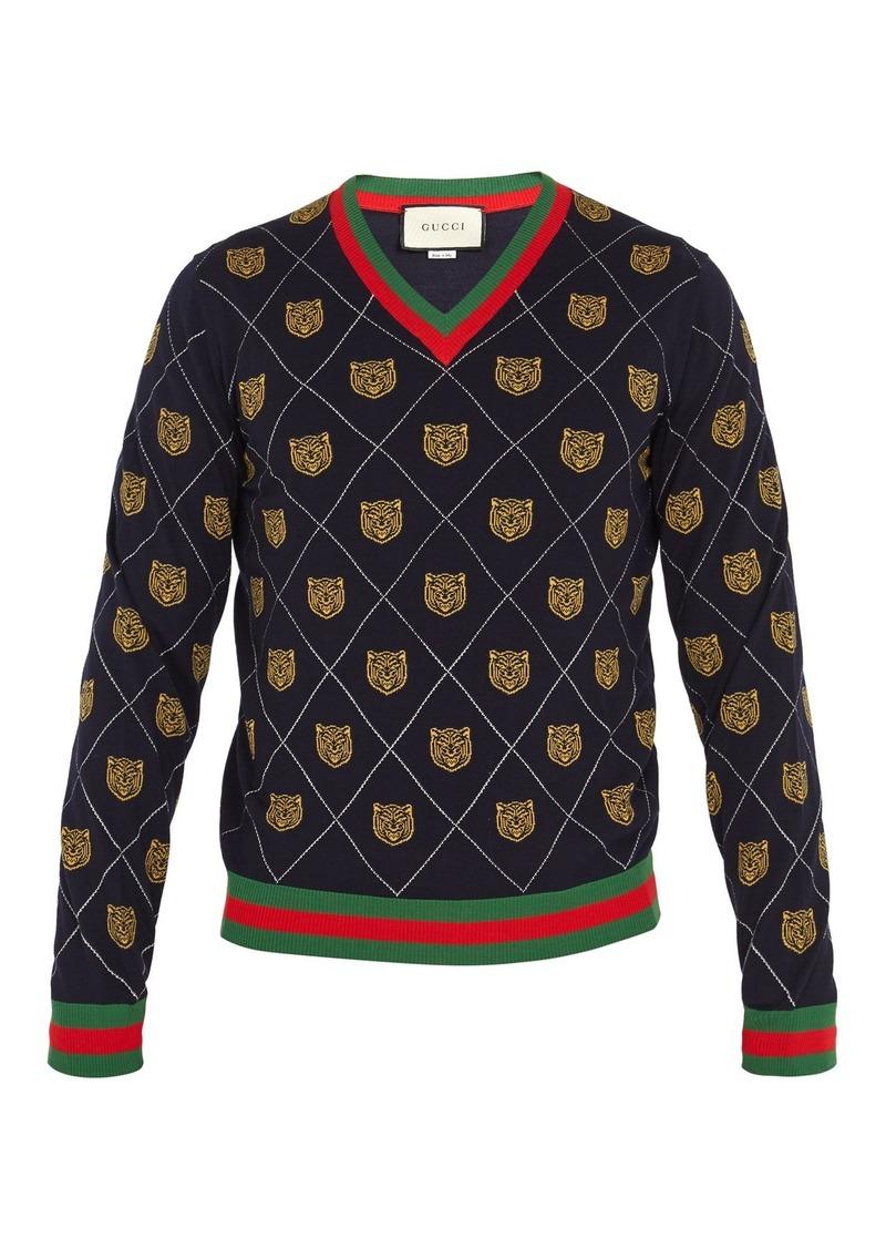 d57c1ba2 Gucci Gucci Tiger-intarsia wool sweater   Sweaters