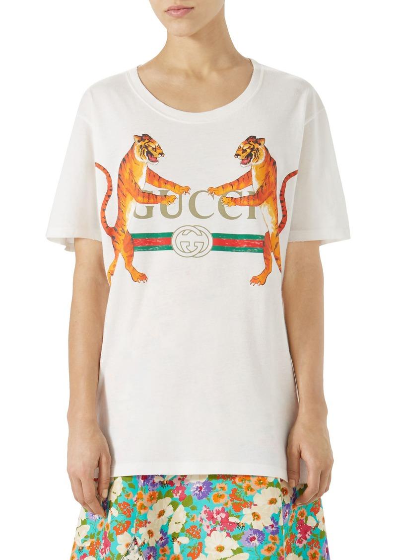 8619167f6be1 Gucci Gucci Tiger Logo Cotton Tee | Casual Shirts