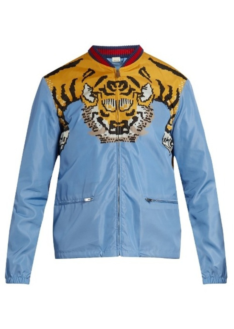 387feb7b Tiger-print shell bomber jacket