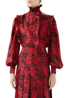 Gucci Tiger Print Silk Blouse