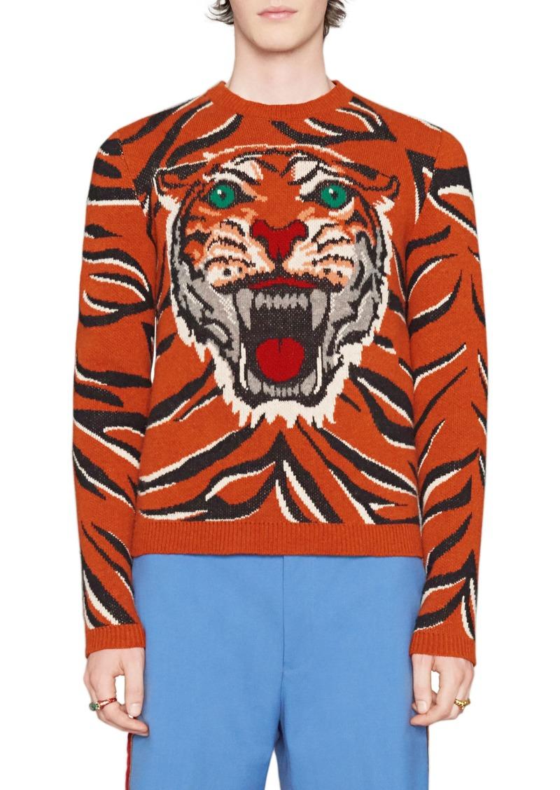 98c5db81fa6cd3 Gucci Gucci Tiger Print Wool Crewneck Sweater