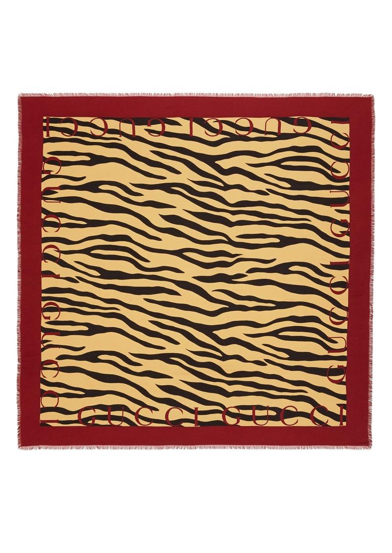 Gucci Tiger Stripe & Logo Print Square Silk Scarf