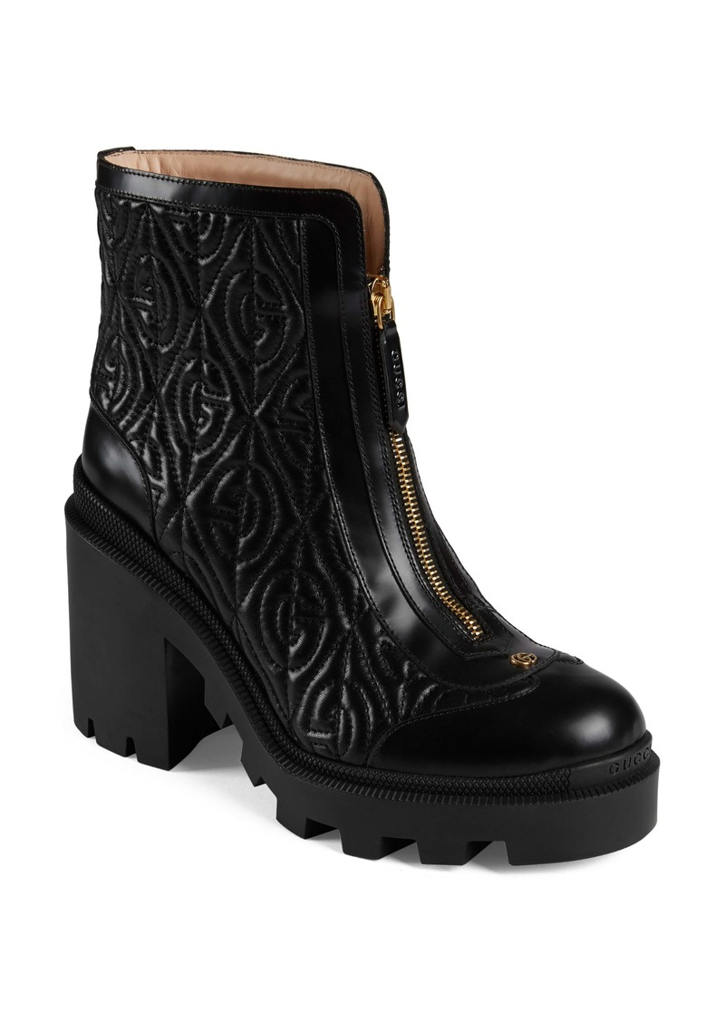 Gucci Trip G Rhombus Quilted Combat Boot (Women)