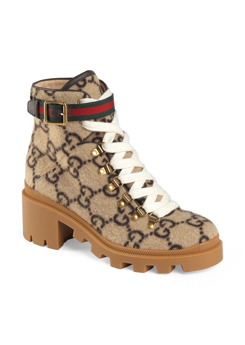 Gucci Trip GG Monogram Wool Combat Boot (Women)