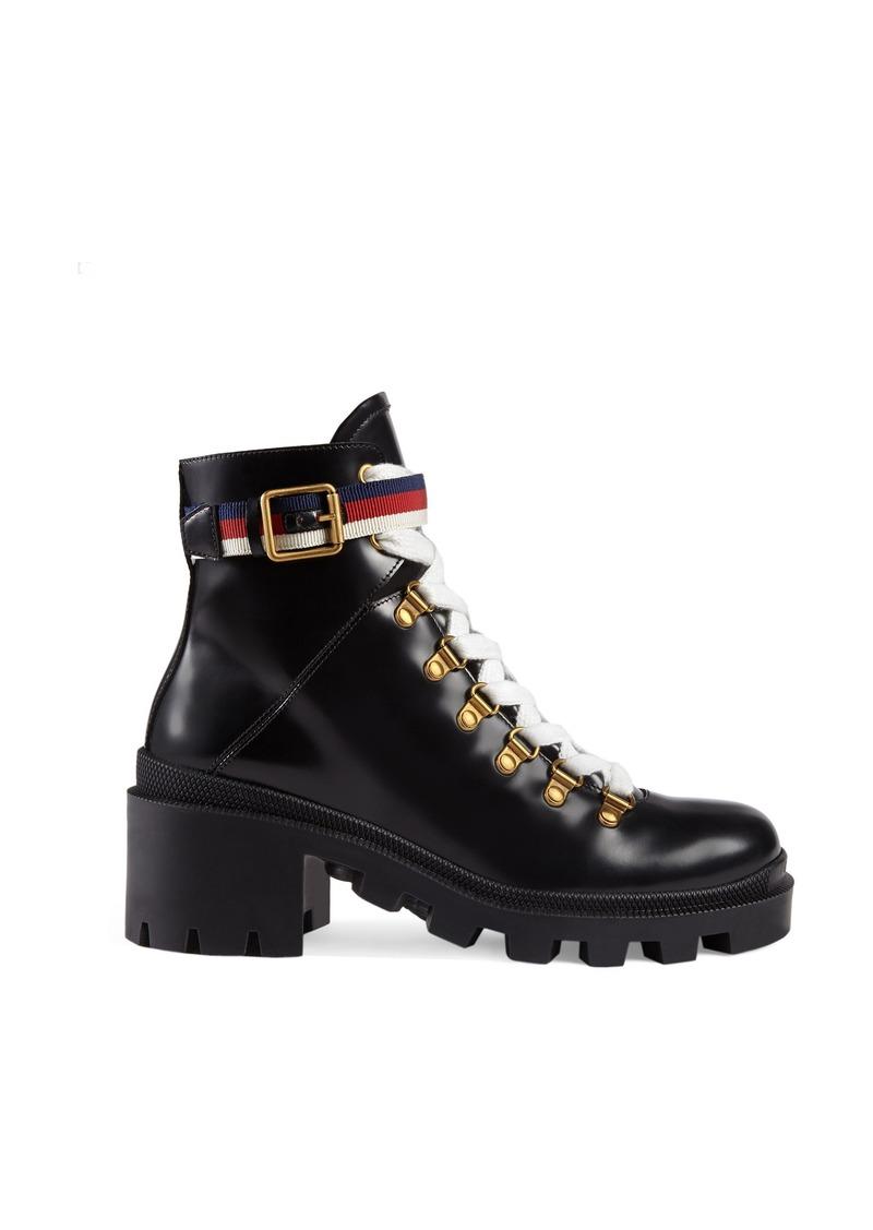 Gucci Trip Lug Sole Combat Boot (Women)
