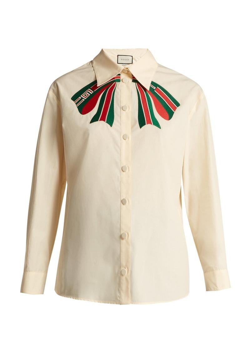 0b700990408a13 Gucci Gucci Trompe l'oeil bow cotton-poplin shirt | Casual Shirts