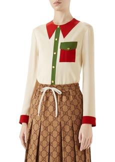 Gucci Trompe l'Oeil Silk Shirt