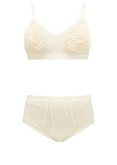Gucci Tulle and cotton bra and high-rise briefs