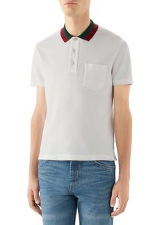 Gucci Two-Tone Collar Short Sleeve Piqué Polo