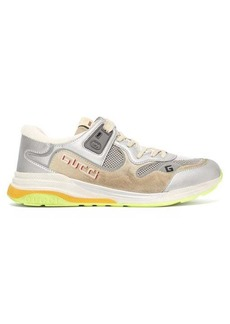 Gucci Ultrapace distressed leather and suede trainers