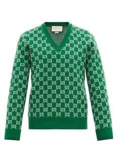 Gucci V-neck GG-jacquard wool-blend sweater