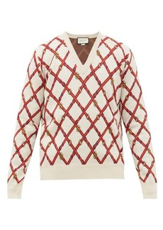 Gucci V-neck harness-instarsia wool-blend sweater