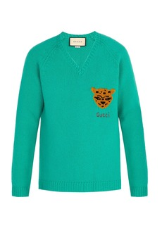 Gucci V-neck tiger-intarsia wool sweater