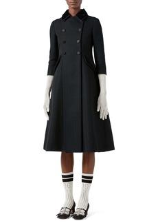 Gucci Velvet Collar GG Rhombus Jacquard Coat