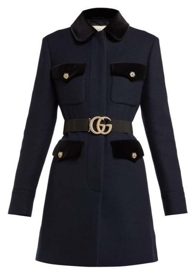 Gucci Velvet-trimmed single-breasted wool coat