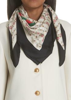Gucci Vintage Rose Foulard Silk Scarf