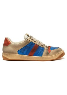 Gucci Virtus distressed-leather low-top trainers