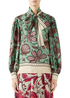 Gucci Watercolor Floral Print Tie Neck Silk Blouse