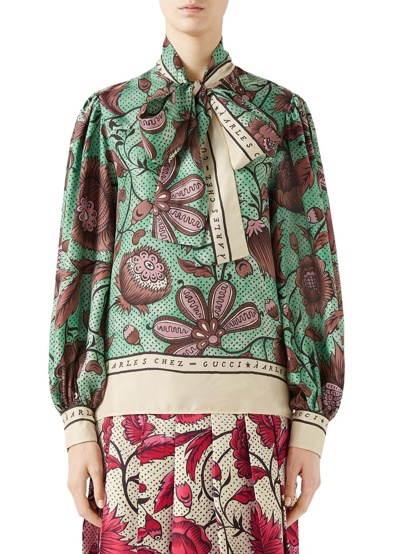 Gucci Watercolor Floral Print Tie Neck Silk Blouse