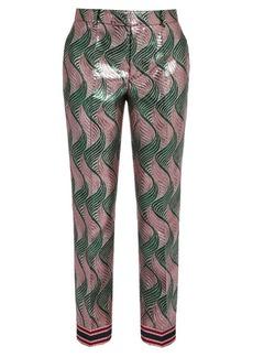 Gucci Wave-jacquard silk-blend lamé trousers