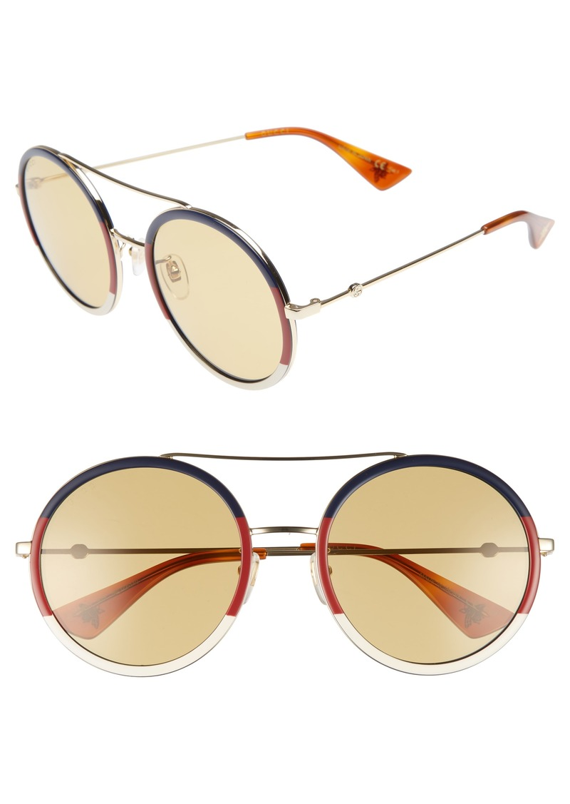 9f08b41558 Gucci Gucci Web Block 56mm Round Sunglasses