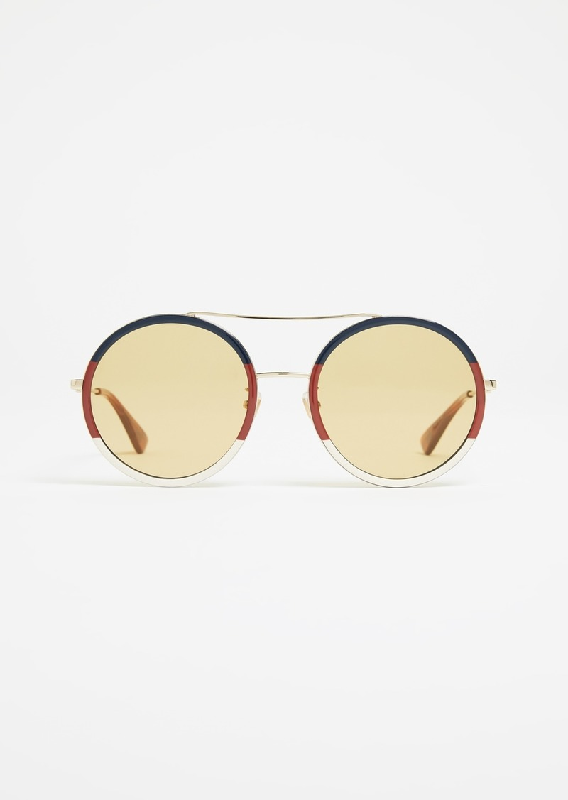 b692f54c91c Gucci Gucci Web Block Round Sunglasses