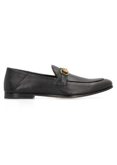 Gucci Web Detail Leather Loafers
