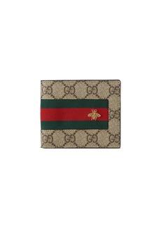 Gucci Web GG Supreme Bi-Fold Wallet with Bee  Beige