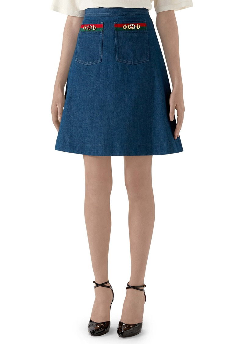 Gucci Web Ribbon Trim Denim Miniskirt