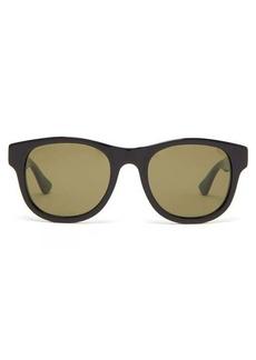 Gucci Web stripe-arms square acetate sunglasses