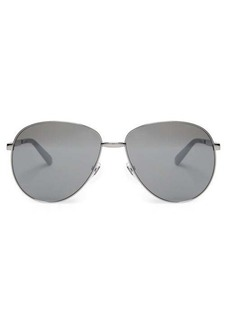 Gucci Web-stripe aviator metal sunglasses