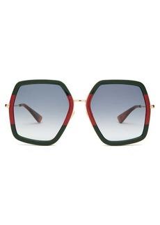 Gucci Web-stripe hexagon acetate and metal sunglasses