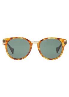 Gucci Web-stripe round acetate and metal sunglasses