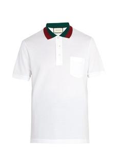 516860f37f72 Gucci Web-stripe trimmed cotton-piqué polo shirt