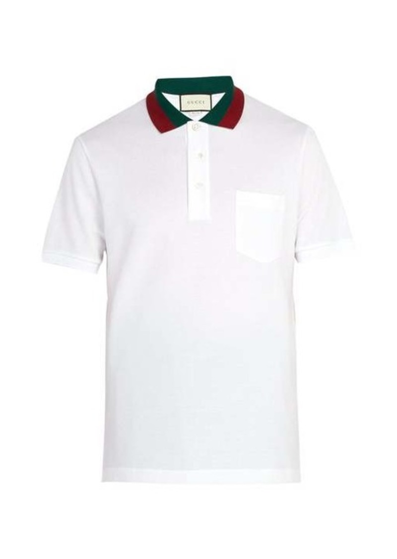 Gucci Web-stripe trimmed cotton-piqué polo shirt