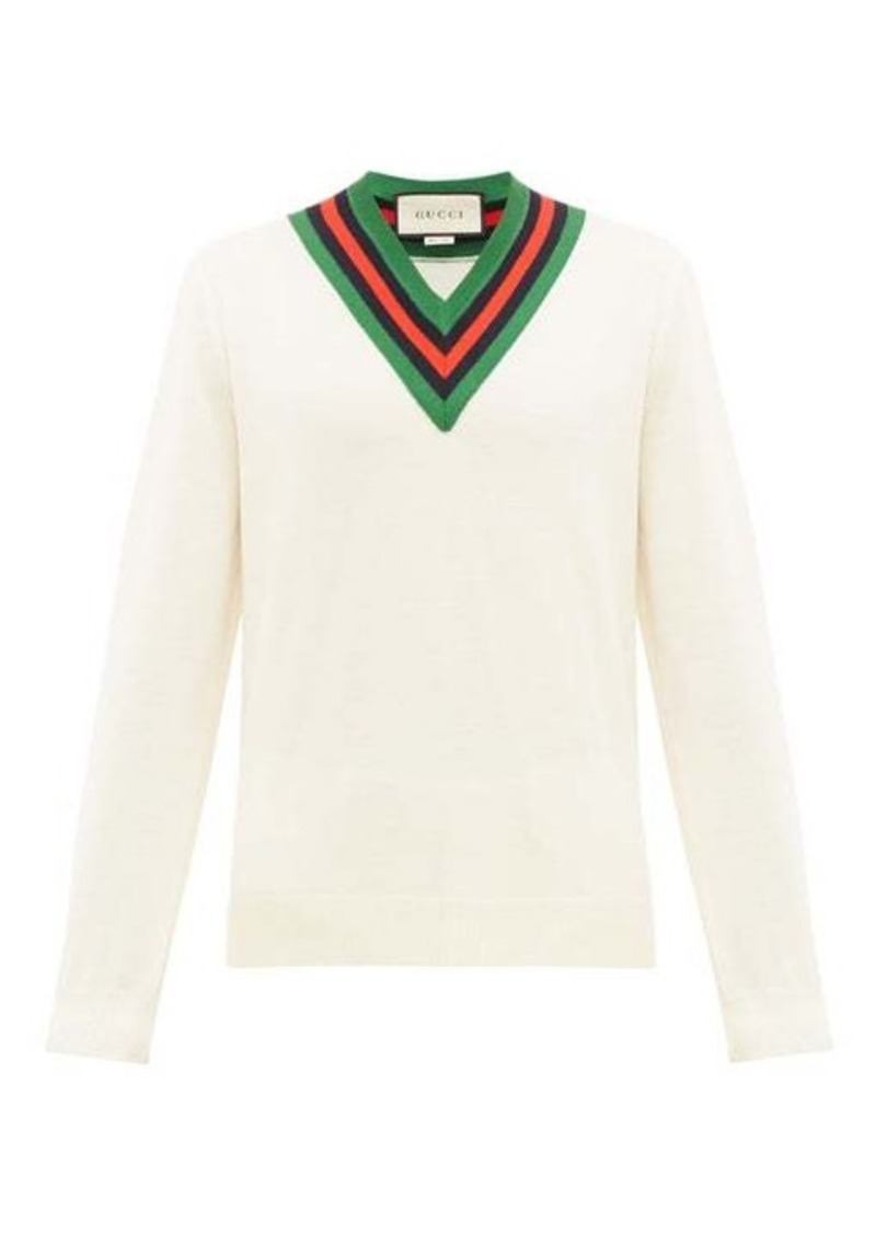 Gucci Web-stripe V-neck wool sweater