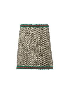 Gucci Web-stripe wool-blend tweed mini skirt