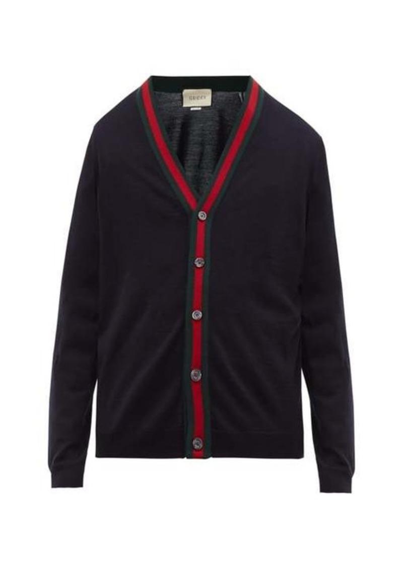 Gucci Web stripe wool-knit cardigan