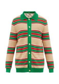 Gucci Web-striped cotton cardigan