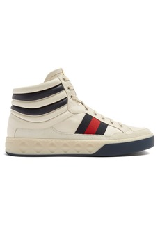 Gucci Web-striped high-top leather trainers