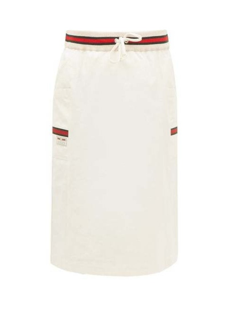 Gucci Web-striped side-pocket cotton skirt