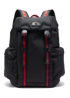 Gucci Web-striped technical-canvas backpack