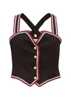Gucci Web-striped wool-blend waistcoat top