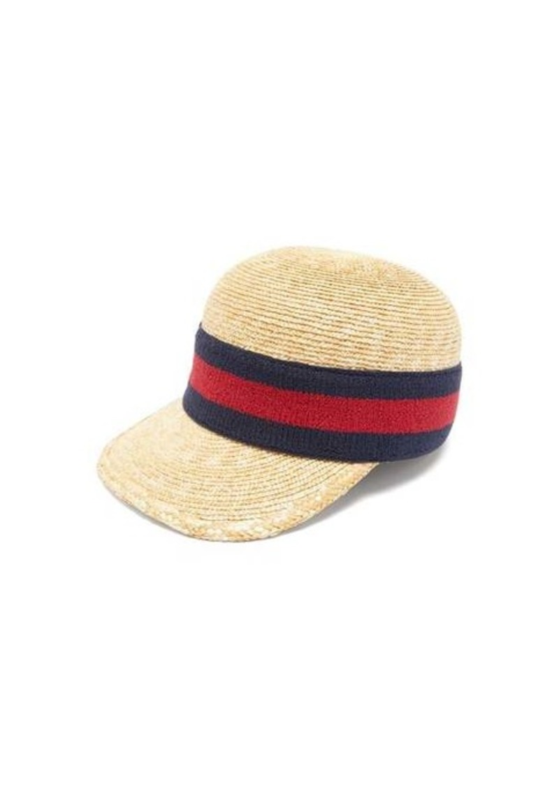 Gucci Web-striped woven-straw baseball cap